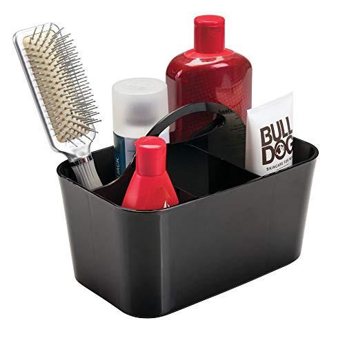 mDesign Bathroom Shower Caddy Tote for Shampoo, Conditioner, Soap - Small, Black