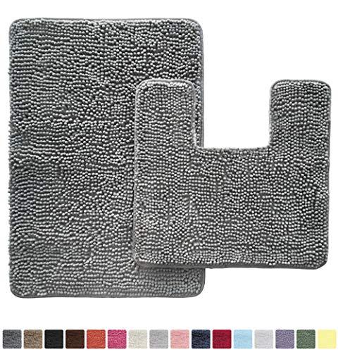 GORILLA GRIP Original Shaggy Chenille 2 Piece Area Rug Set, Includes Square U-Shape Contoured Toilet Mat & 30x20 Carpet Rug, Machine Wash/Dry Mats, Soft, Plush Rugs for Tub Shower & Bath Room, Gray